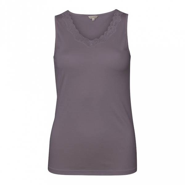 Bilde av Lady Avenue Top W/Lace Silk Jersey Coffe