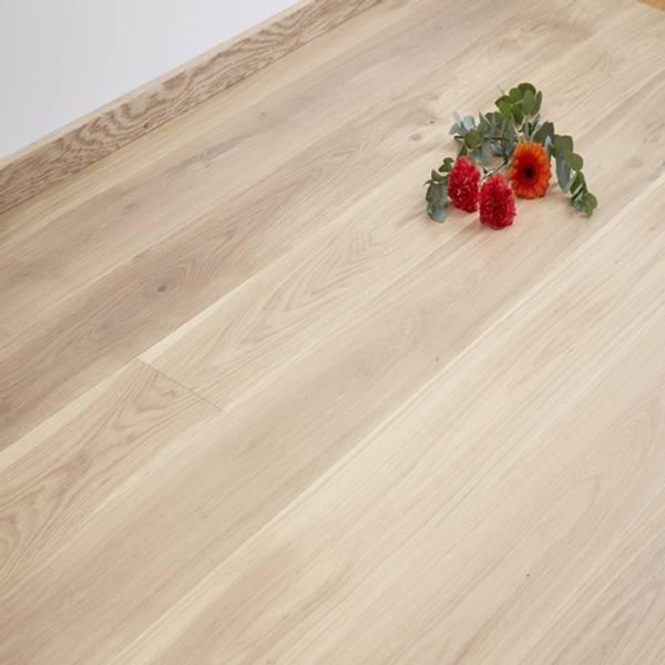 Parkett Eik Plank Elegant Seapearl Hvit Mattlakk