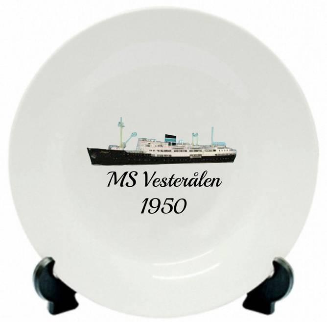 Bilde av Tallerken MS Vesterålen 1950
