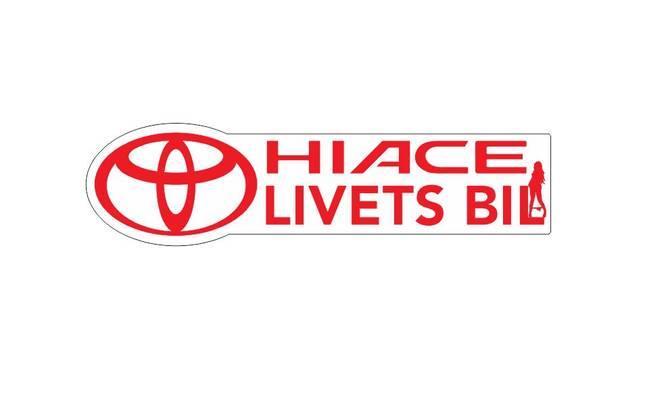 Bilde av Hiace Livets Bil Med Dame Rødt Klistremerke