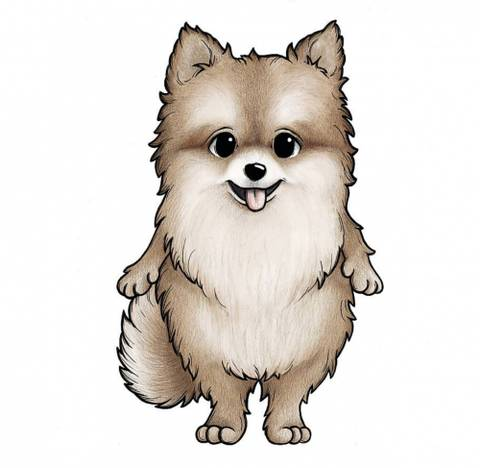 Bilde av Wallsticker - Honey the Pomeranian - Stickstay