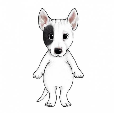 Bilde av Wallsticker - Bingo the bull terrier - Stickstay