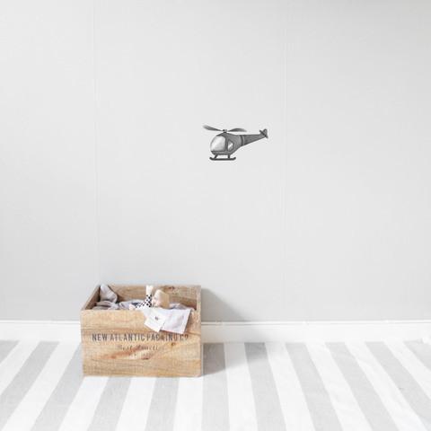 Bilde av Wallsticker - Helicopter graphite grey -