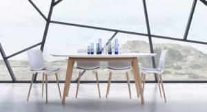 Bilde av DK10 bord 110x190 hvit laminat-uttrekk-stålben
