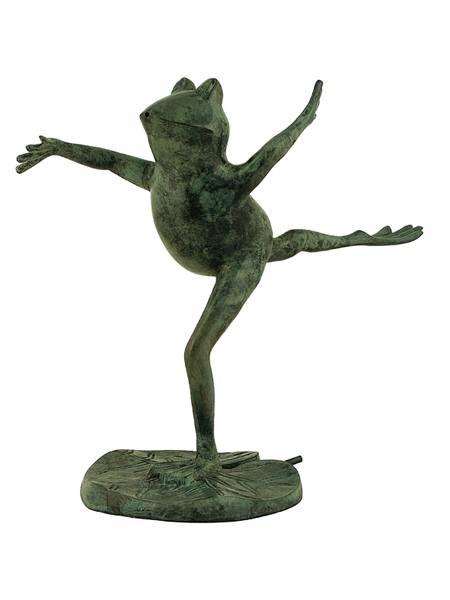 Løpende frosk i bronse 35 cm
