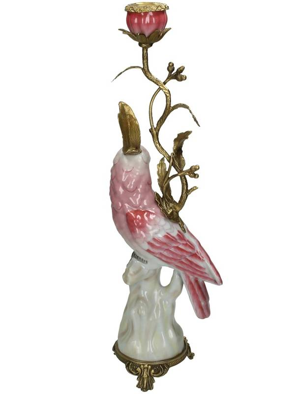 Bilde av CANDLE STICK BIRD PINK H:42