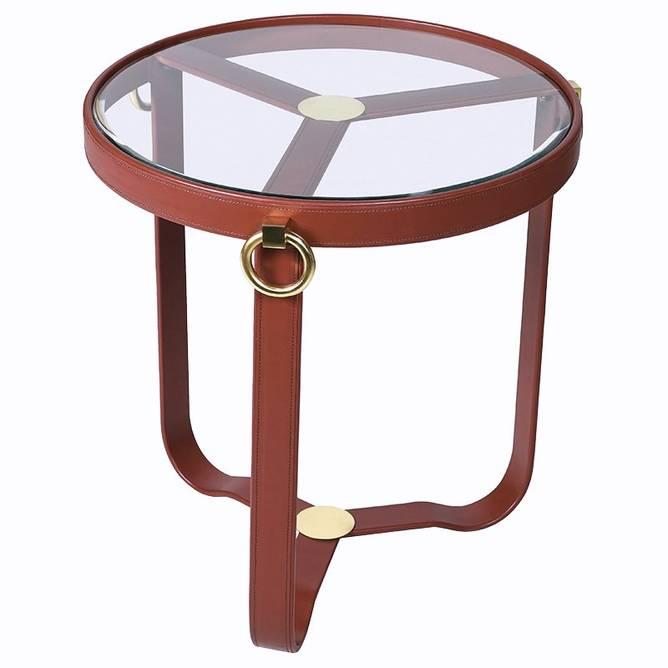 Bilde av BRASS GLASS LEATHER TABLE