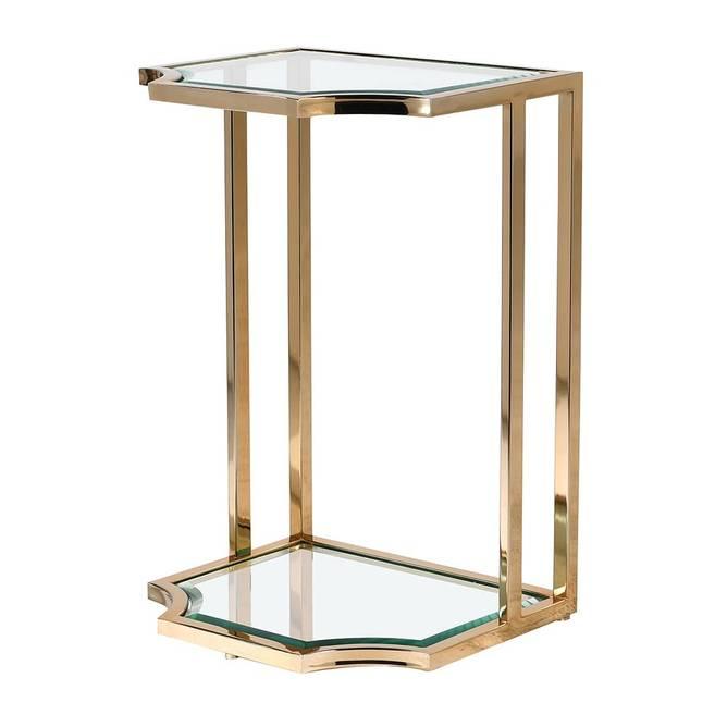 Bilde av GOLD SIDE TABLE W GLASS