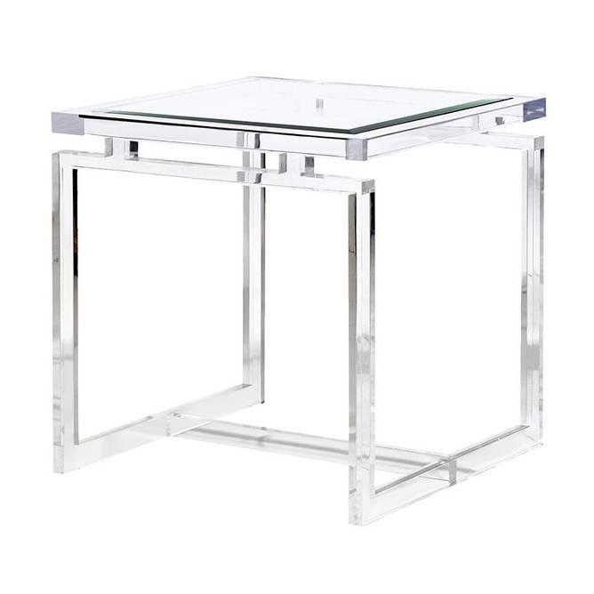 Bilde av GLASS ACRYLIC SIDE TABLE