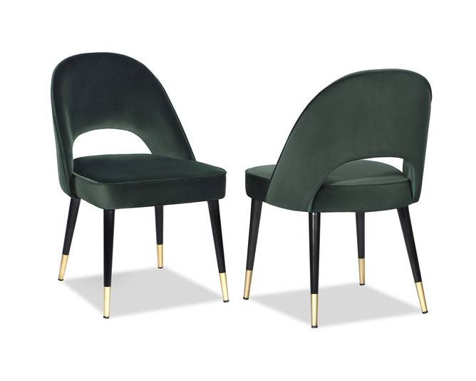 Bilde av YVES DINING CHAIR KASTER GREEN VELVET
