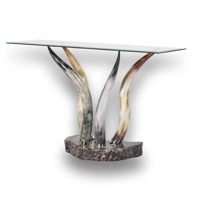 Bilde av GLASS AND HORN CONSOLE TABLE