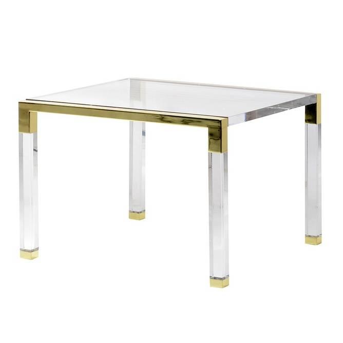 Bilde av ACRYLIC SIDE TABLE WITH GOLD DETAILS