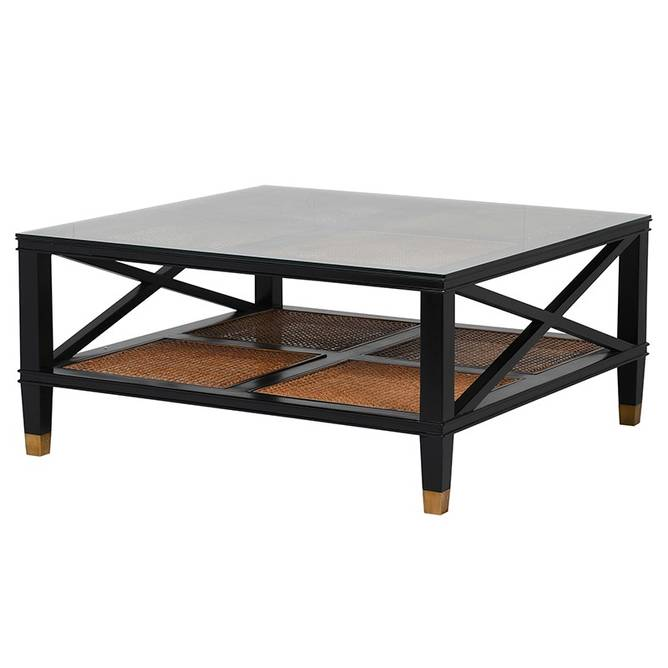 Bilde av ELMAYFAIR BLACK COFFEE TABLE W GLASS TOP