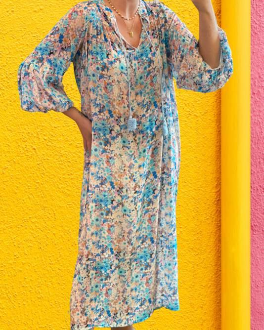Bilde av Angelica dress blue flower