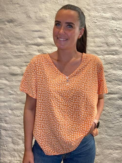 Bilde av MASSIMO - Bluse småblomster oransje 8336