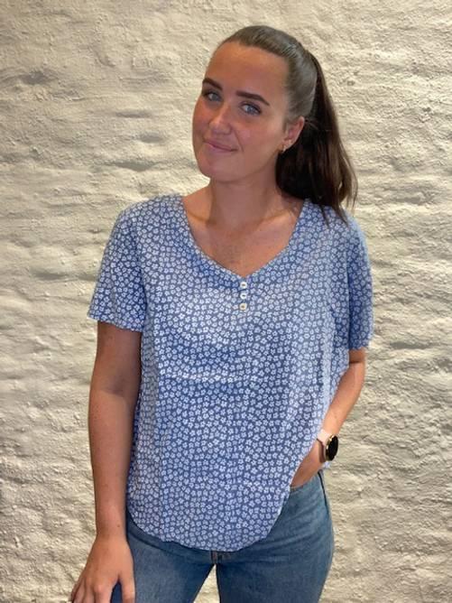 Bilde av MASSIMO - Bluse småblomster blå 8336