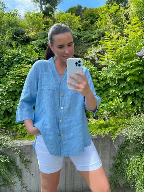 Bilde av MASSIMO - Linskjorte med lommer blå 4231