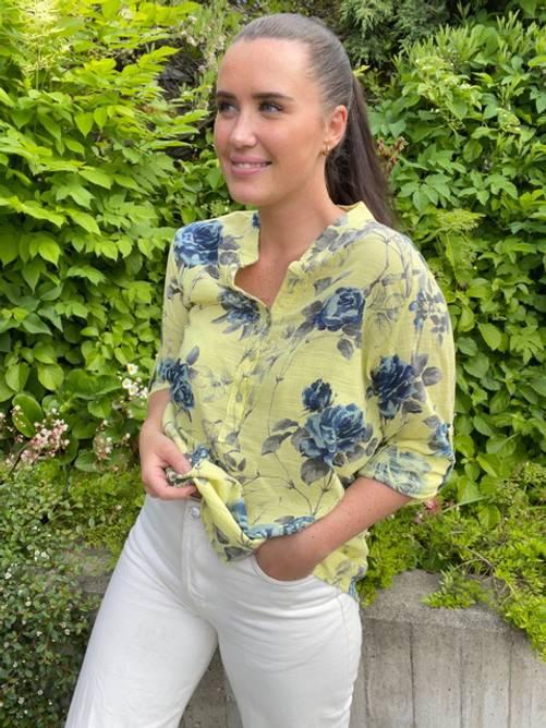 Bilde av MASSIMO - Bluse blomster 100% bomull gul