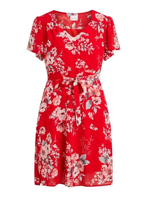 Bilde av Rød kjole med blomsterprint