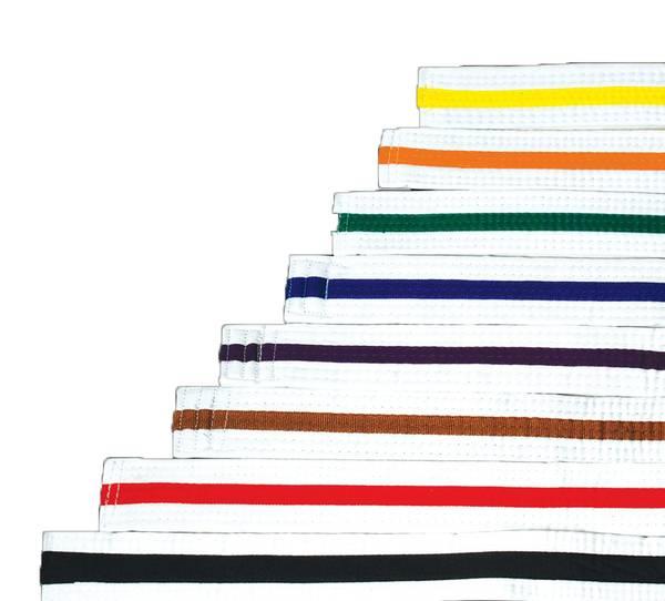 Bilde av Hvitt budobelte med farget stripe