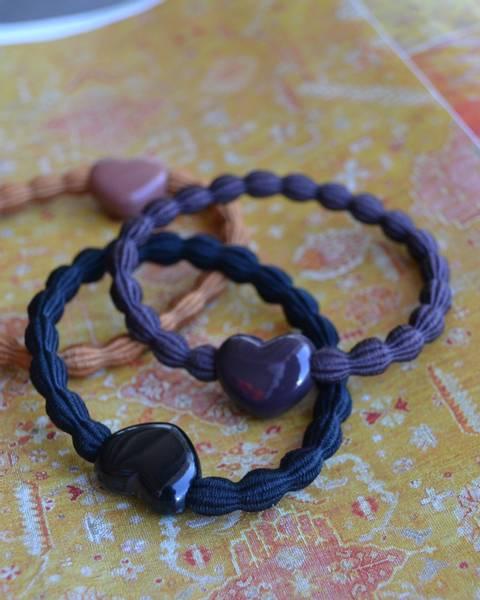 Heart hårstrikk 7cm black