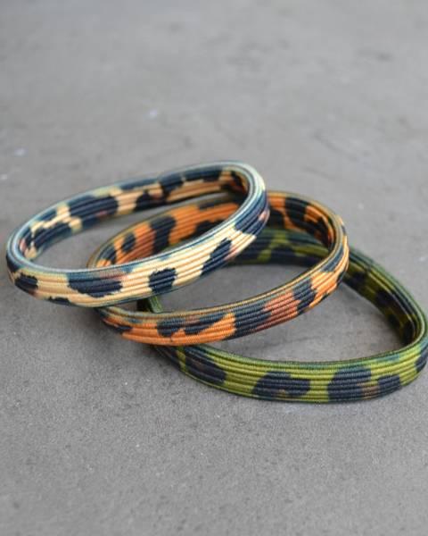 Leopard hårstrikk 8cm sand/green