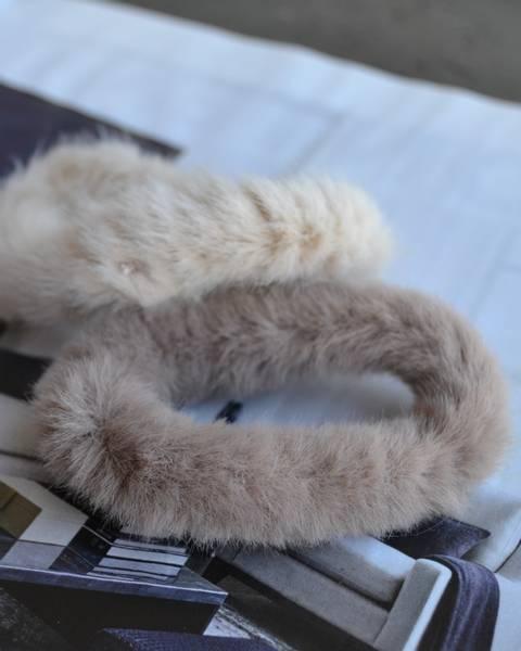 Fluffy Fur hårstrikk 8cm taupe