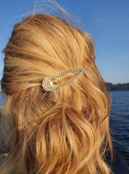 Diamond hårklemme 8cm gull