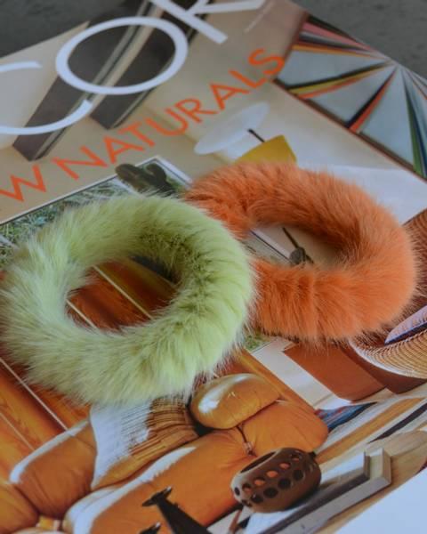 Fluffy Fur hårstrikk 8cm lime