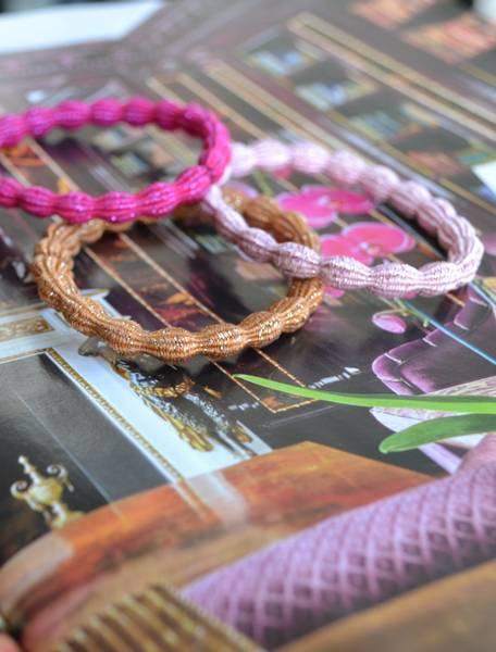Glitter hårstrikk 7cm pink