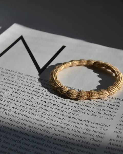 Glitter hårstrikk 7cm gold/nature