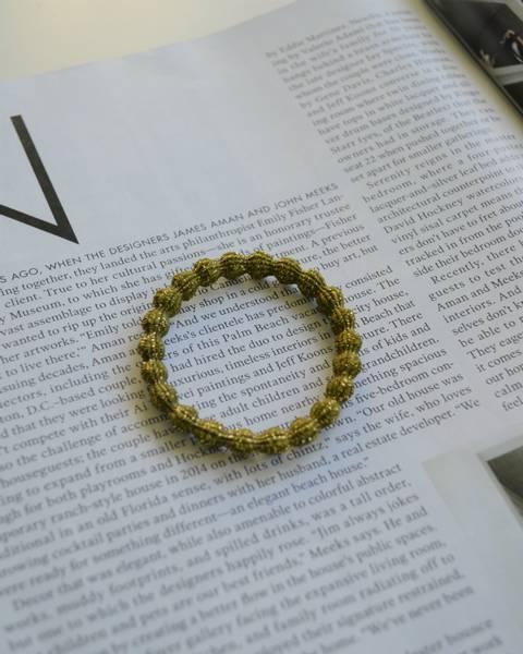 Glitter hårstrikk 7cm olive
