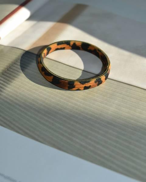 Leopard hårstrikk 8cm brown/orange