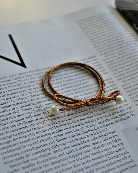 Pearl hårstrikk 7cm gold