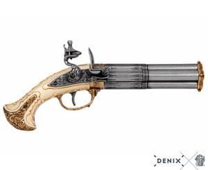 Bilde av 3-løpet flintlås pistol 1700-talls