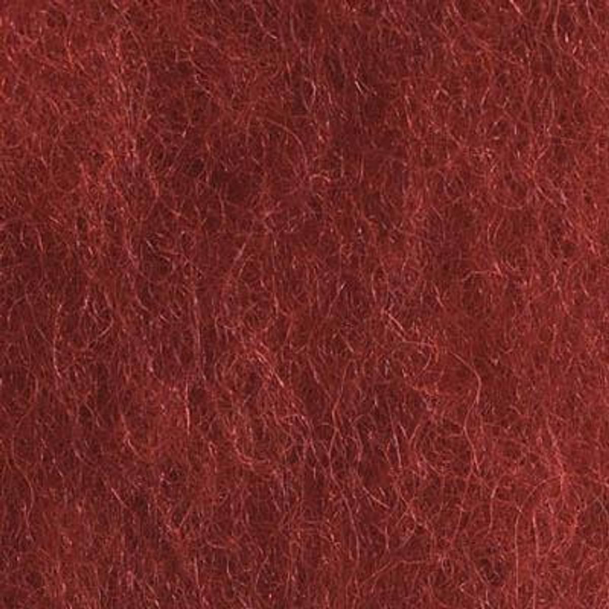 Kardet ull, dyp rød 100g