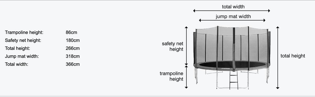 TopDesign trampoline med beskyttelsesnett og stige 430cm