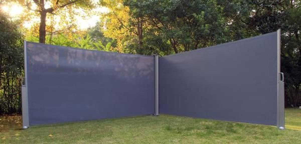 Dobbel Levegg - sidemarkise - 1,6x6m - grå
