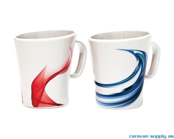 Bilde av Krus Savona 30cl hvit m/rødt+blått mønster 2stk