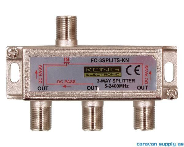 Bilde av Split 3-way til f-connector m/DC-pass