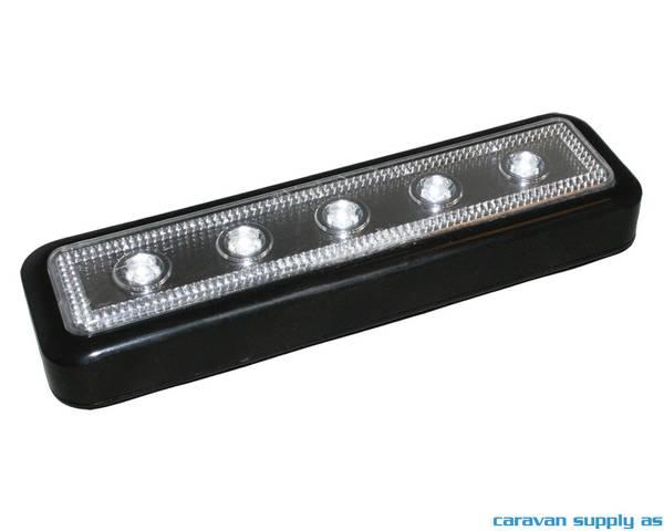 Bilde av Lampe til trinn 5LED m/borrelås 16x5cm svart