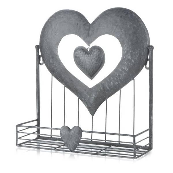 Bilde av Hjerte hylle metall børstet grå