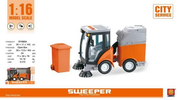 Bilde av WENYI – Koste- og søppelbil m/lys og lyd (20cm)