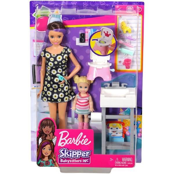 Bilde av Barbie Skipper-dukke - barnevakt med tilbehør