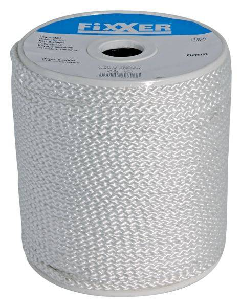 Bilde av Fixxer tau 8-slått hvit polyester 100m