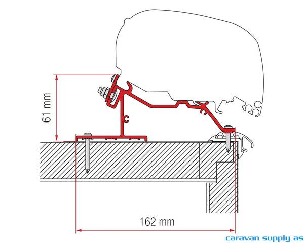Bilde av Feste F65/F80 Adapter Caravan Roof 340cm skinne