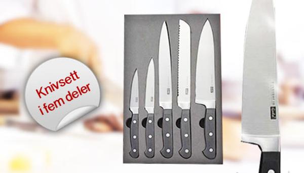 Bilde av Flott knivsett med 5 kniver i gavepakning