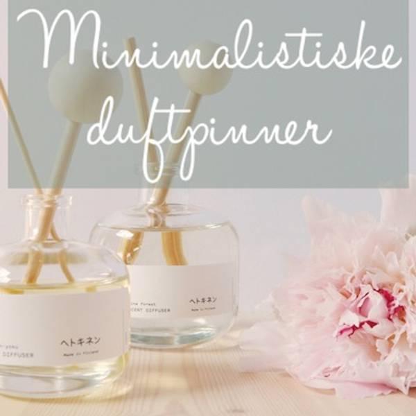 Duftpinner i minimalistisk glassflaske med essensielle oljer fra det finske merket Hetkinen.