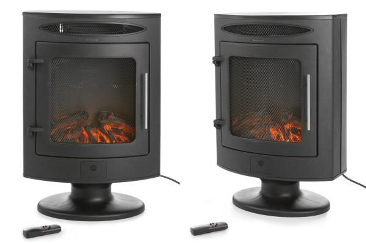 Elektrisk peis - ovn frittstående sort 1800 w - med fjernkontrol