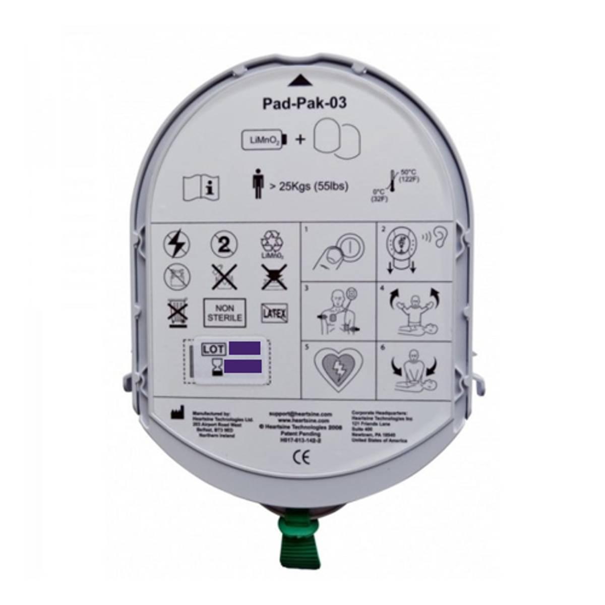 HeartSine batteri med elektrode (Voksen) PAD350P/PAD500P